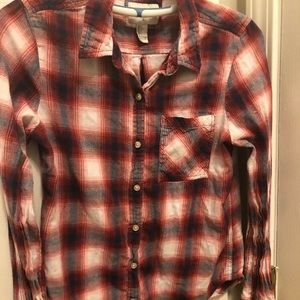 F21 Women SzL Flannel, long sleeve, collared shirt
